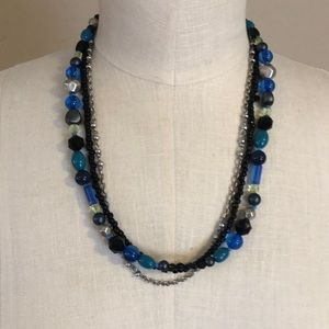 Fashion jewelry necklace Blue, silver, black